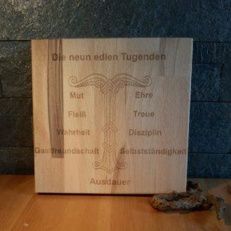 Holzschild_Die neun Tugenden
